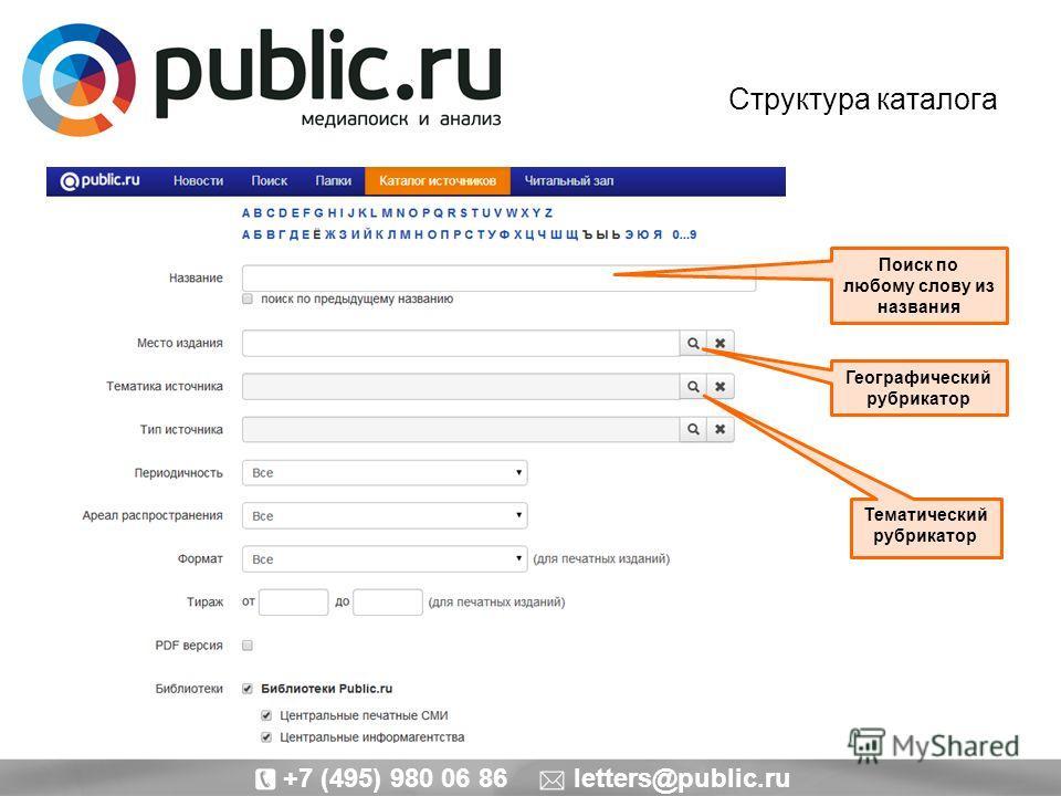 Структура каталога Поиск по любому слову из названия Тематический рубрикатор Географический рубрикатор +7 (495) 980 06 86 letters@public.ru