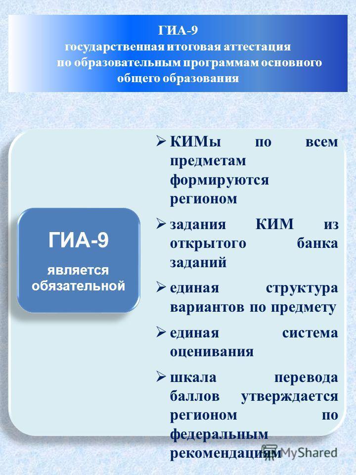 ГИА-9 является обязательной ГИА-9 является обязательной КИМы по всем предметам формируются регионом задания КИМ из открытого банка заданий единая структура вариантов по предмету единая система оценивания шкала перевода баллов утверждается регионом по