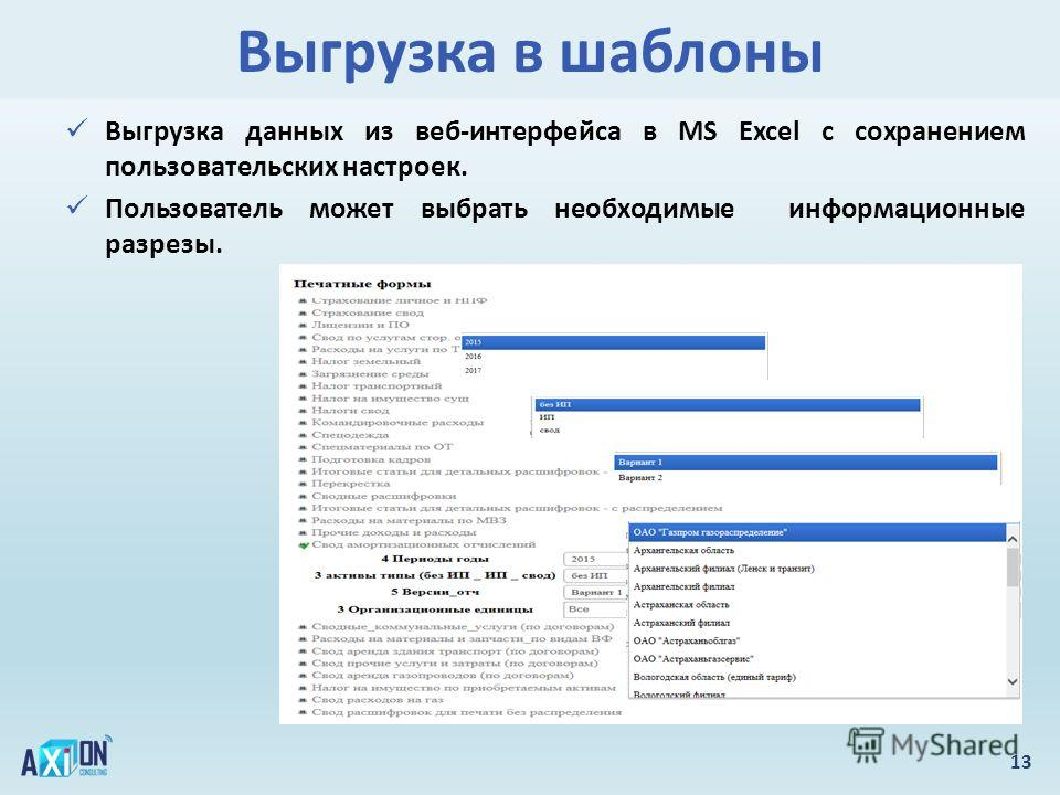 Выгрузка в шаблоны 13 Выгрузка данных из веб-интерфейса в MS Excel с сохранением пользовательских настроек. Пользователь может выбрать необходимые информационные разрезы.