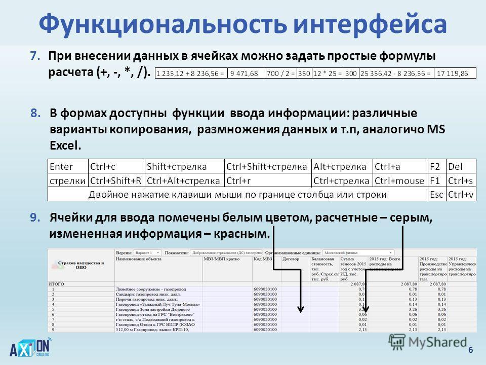 Функциональность интерфейса 6 7. При внесении данных в ячейках можно задать простые формулы расчета (+, -, *, /). 8. В формах доступны функции ввода информации: различные варианты копирования, размножения данных и т.п, аналогично MS Excel. 9. Ячейки