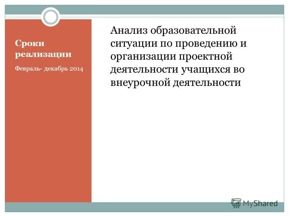 Сроки реализации Февраль- декабрь 2014 Анализ образовательной ситуации по проведению и организации проектной деятельности учащихся во внеурочной деятельности
