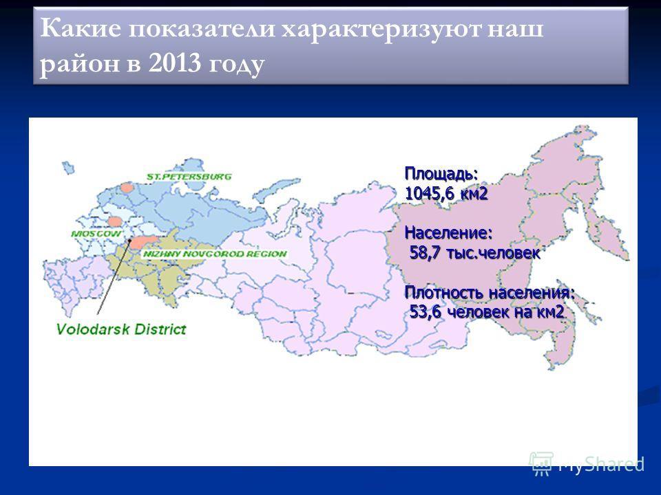 Какие показатели характеризуют наш район в 2013 году Площадь: 1045,6 км 2 Население: 58,7 тыс.человек 58,7 тыс.человек Плотность населения: 53,6 человек на км 2 53,6 человек на км 2