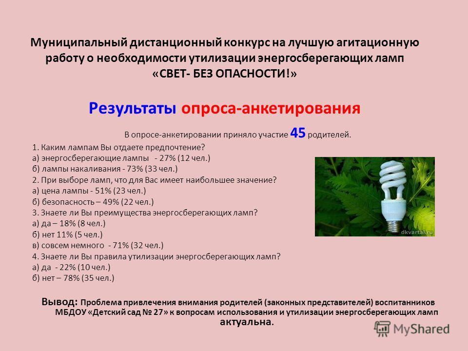 Муниципальный дистанционный конкурс на лучшую агитационную работу о необходимости утилизации энергосберегающих ламп «СВЕТ- БЕЗ ОПАСНОСТИ!» Результаты опроса-анкетирования В опросе-анкетировании приняло участие 45 родителей. 1. Каким лампам Вы отдаете