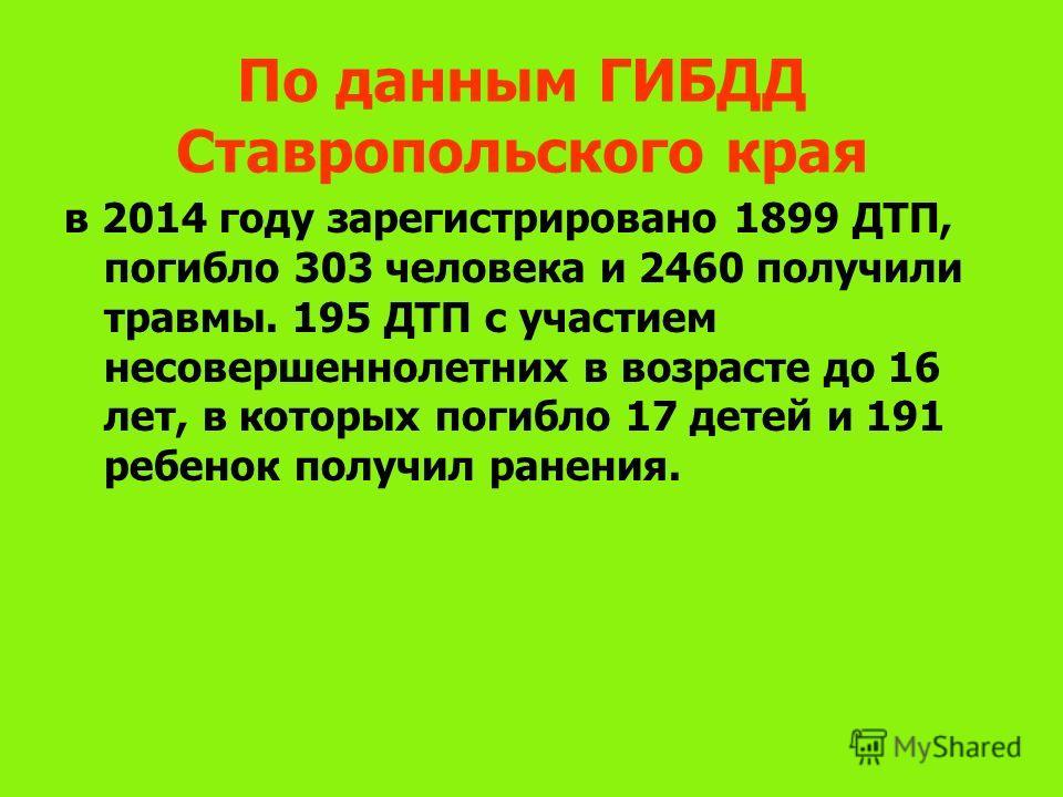 По данным ГИБДД Ставропольского края в 2014 году зарегистрировано 1899 ДТП, погибло 303 человека и 2460 получили травмы. 195 ДТП с участием несовершеннолетних в возрасте до 16 лет, в которых погибло 17 детей и 191 ребенок получил ранения.