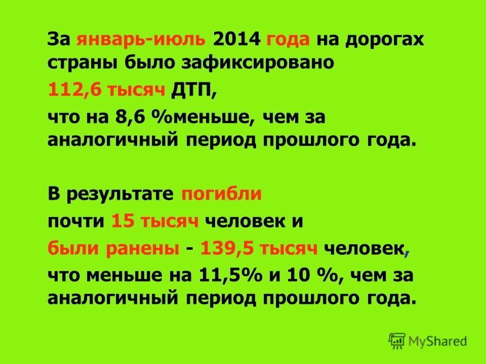 За январь-июль 2014 года на дорогах страны было зафиксировано 112,6 тысяч ДТП, что на 8,6 %меньше, чем за аналогичный период прошлого года. В результате погибли почти 15 тысяч человек и были ранены - 139,5 тысяч человек, что меньше на 11,5% и 10 %, ч