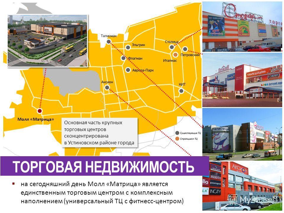 Основная часть крупных торговых центров сконцентрирована в Устиновском районе города Основная часть крупных торговых центров сконцентрирована в Устиновском районе города на сегодняшний день Молл «Матрица» является единственным торговым центром с комп
