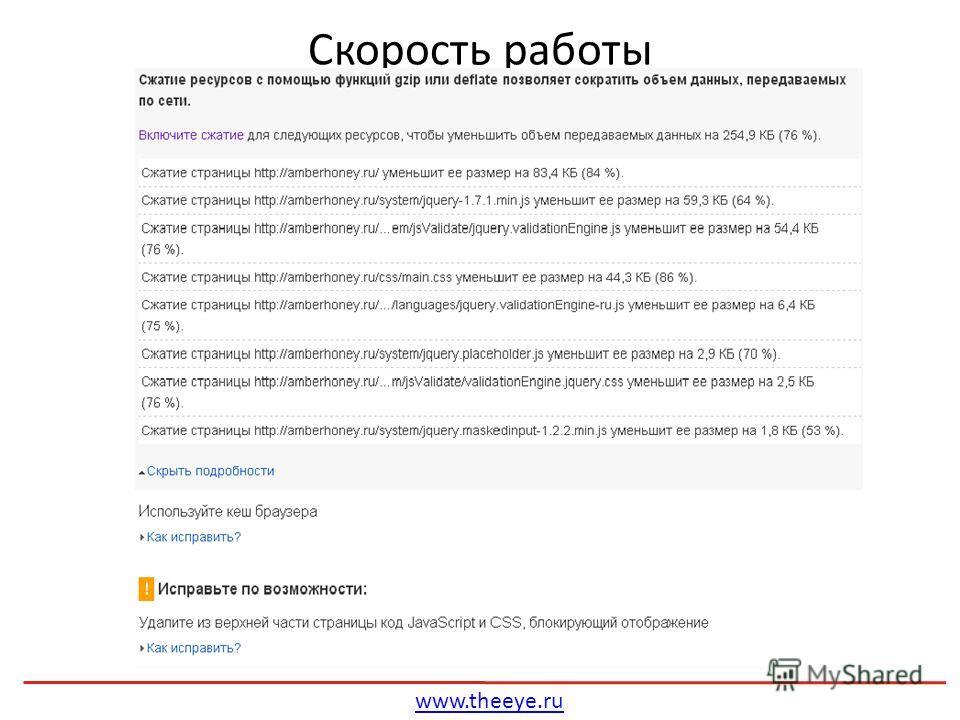 Скорость работы www.theeye.ru