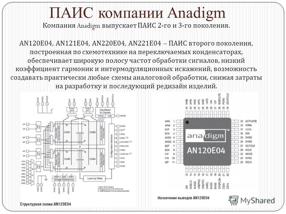 ПАИС компании Anadigm Компания Anadigm выпускает ПАИС 2-го и 3-го поколения. AN120E04, AN121E04, AN220E04, AN221E04 – ПАИС второго поколения, построенная по схемотехнике на переключаемых конденсаторах, обеспечивает широкую полосу частот обработки сиг