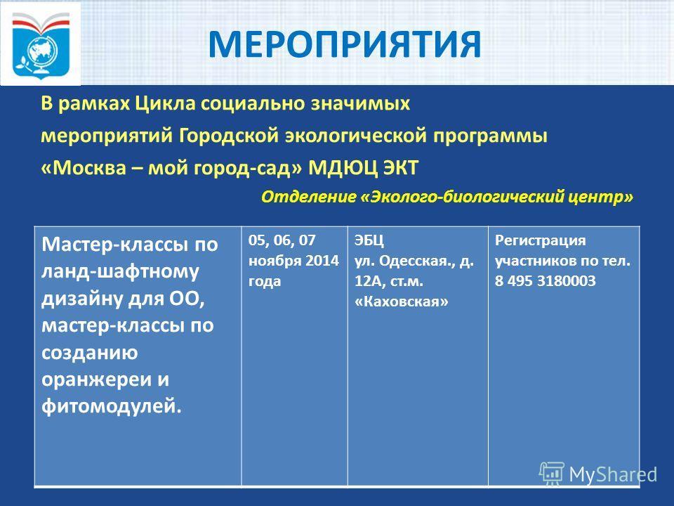 МЕРОПРИЯТИЯ В рамках Цикла социально значимых мероприятий Городской экологической программы «Москва – мой город-сад» МДЮЦ ЭКТ Отделение «Эколого-биологический центр» Мастер-классы по ланд-шафтному дизайну для OO, мастер-классы по созданию оранжереи и