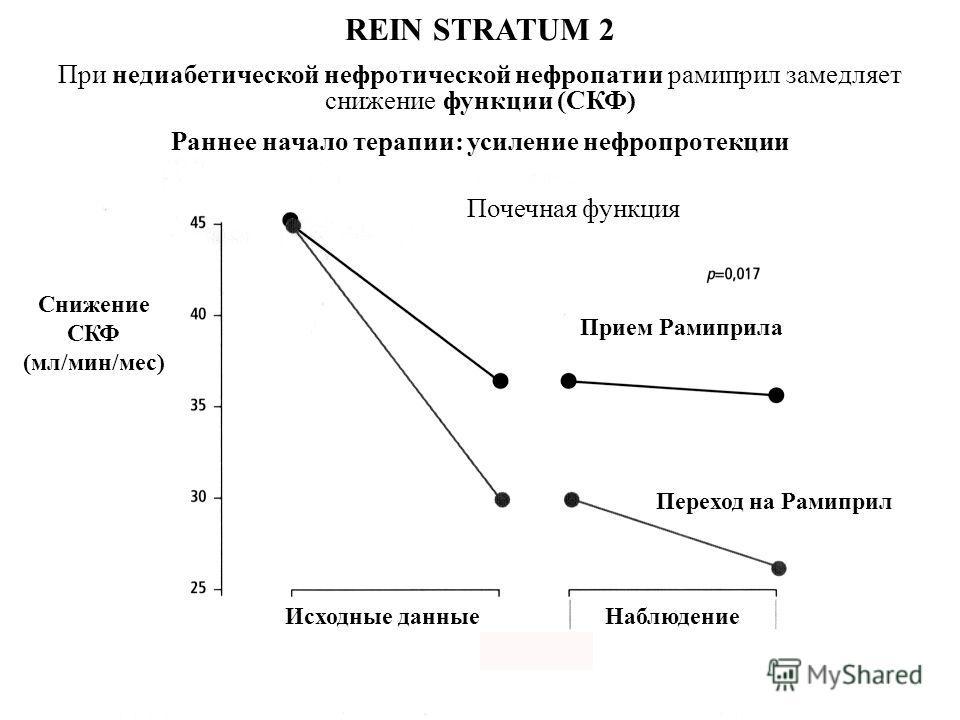 REIN STRATUM 2 При недиабетической нефротической нефропатии рамиприл замедляет снижение функции (СКФ) Раннее начало терапии: усиление нефропротекции Прием Рамиприла Переход на Рамиприл Почечная функция Снижение СКФ (мл/мин/мес) Исходные данные Наблюд