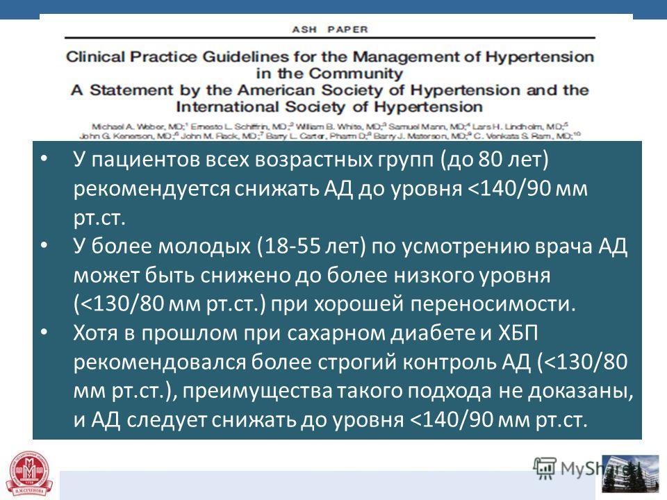 У пациентов всех возрастных групп (до 80 лет) рекомендуется снижать АД до уровня