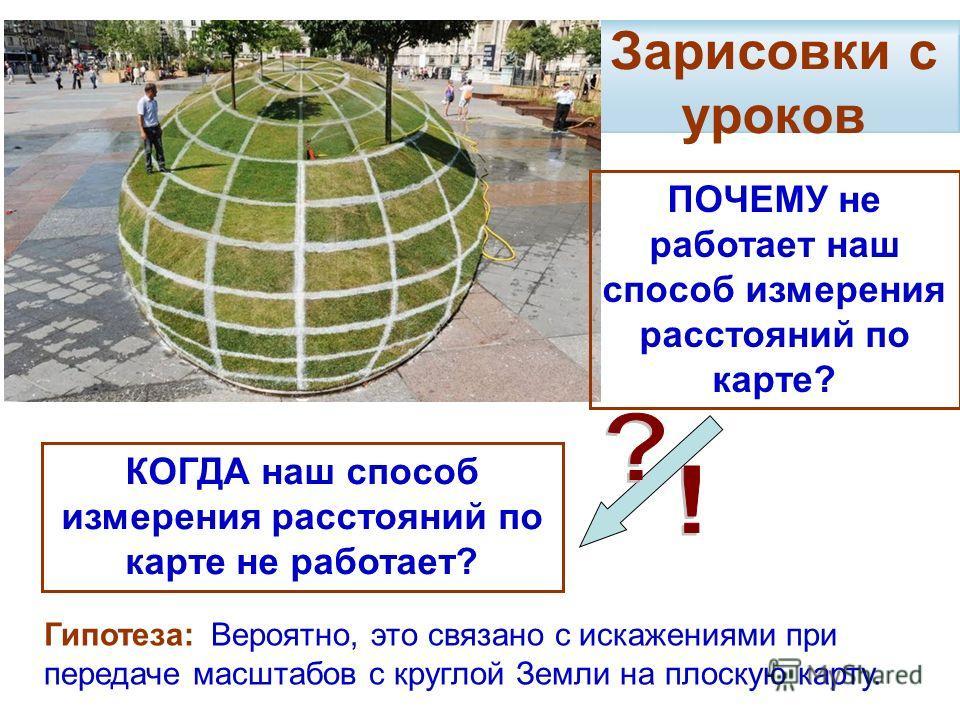 Зарисовки с уроков ПОЧЕМУ не работает наш способ измерения расстояний по карте? Гипотеза: Вероятно, это связано с искажениями при передаче масштабов с круглой Земли на плоскую карту. КОГДА наш способ измерения расстояний по карте не работает?