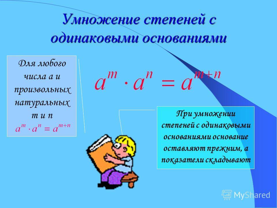 Умножение степеней с одинаковыми основаниями Для любого числа a и произвольных натуральных m и n При умножении степеней с одинаковыми основаниями основание оставляют прежним, а показатели складывают