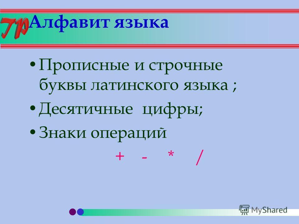 Алфавит языка Прописные и строчные буквы латинского языка ; Десятичные цифры; Знаки операций + - * /