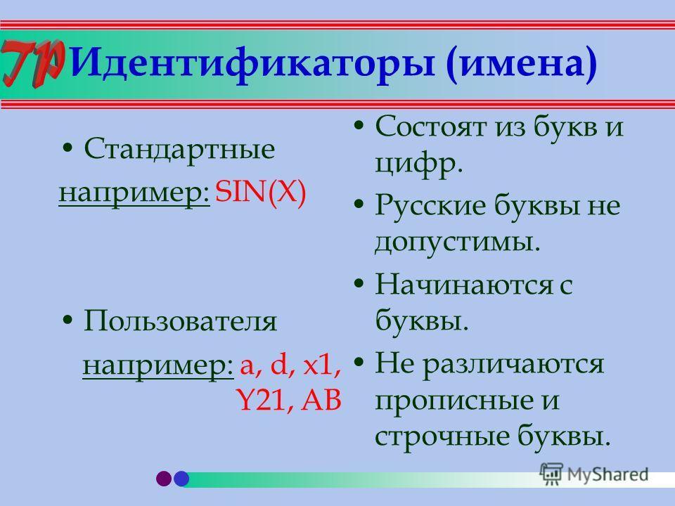 Идентификаторы (имена) Стандартные например: SIN(X) Пользователя например: a, d, x1, Y21, AB Состоят из букв и цифр. Русские буквы не допустимы. Начинаются с буквы. Не различаются прописные и строчные буквы.