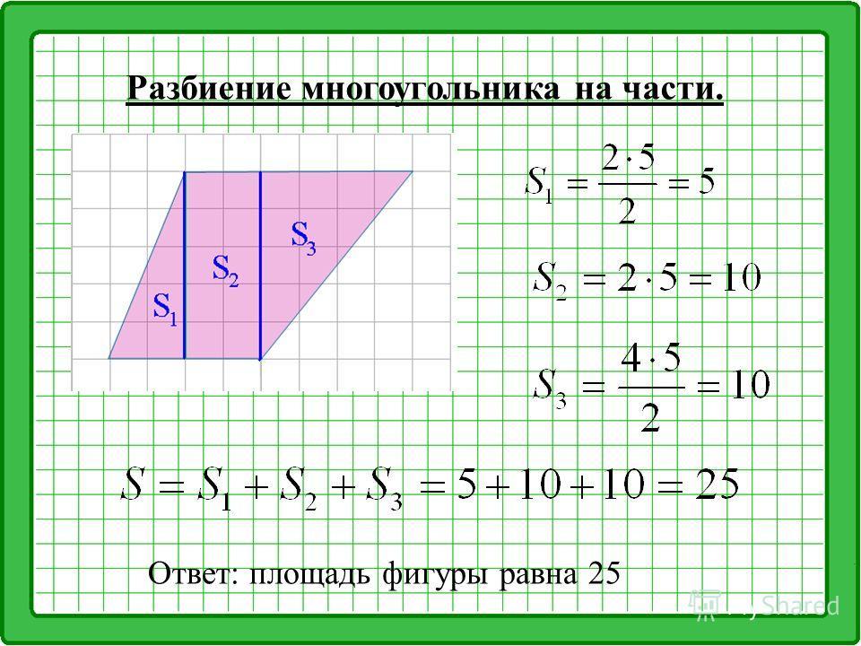 Разбиение многоугольника на части. Ответ: площадь фигуры равна 25