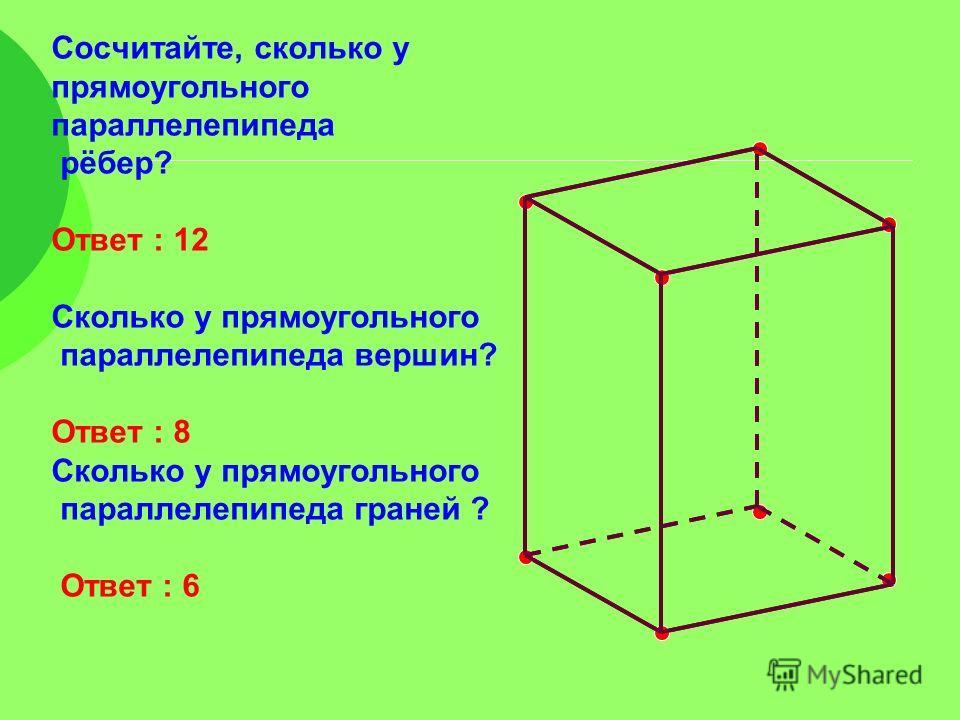 Сосчитайте, сколько у прямоугольного параллелепипеда рёбер? Ответ : 12 Сколько у прямоугольного параллелепипеда вершин? Ответ : 8 Сколько у прямоугольного параллелепипеда граней ? Ответ : 6