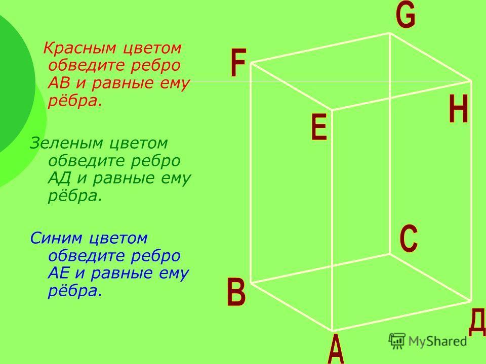 Красным цветом обведите ребро АВ и равные ему рёбра. Зеленым цветом обведите ребро АД и равные ему рёбра. Синим цветом обведите ребро АЕ и равные ему рёбра.