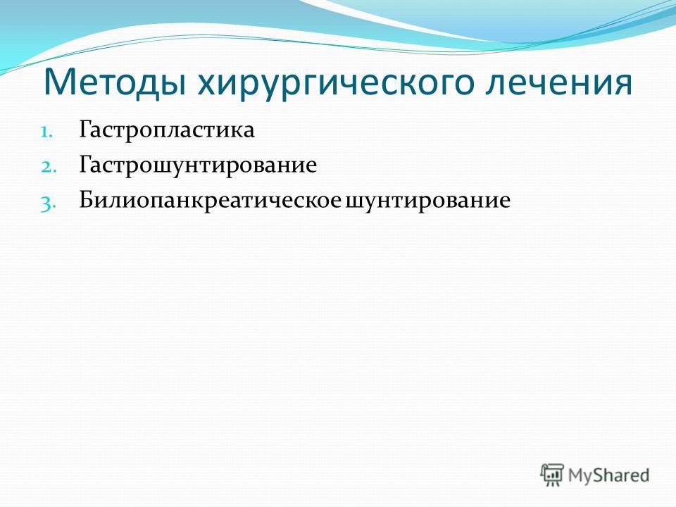 Методы хирургического лечения 1. Гастропластика 2. Гастрошунтирование 3. Билиопанкреатическое шунтирование