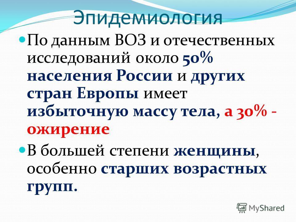 Эпидемиология По данным ВОЗ и отечественных исследований около 50% населения России и других стран Европы имеет избыточную массу тела, а 30% - ожирение В большей степени женщины, особенно старших возрастных групп.