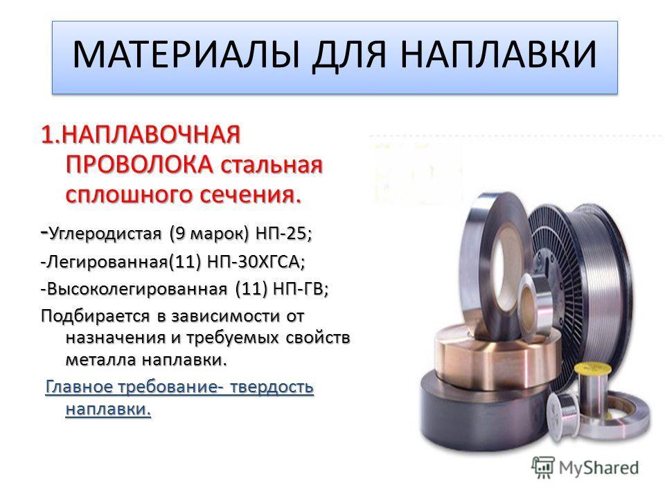 МАТЕРИАЛЫ ДЛЯ НАПЛАВКИ 1. НАПЛАВОЧНАЯ ПРОВОЛОКА стальная сплошного сечения. - Углеродистая (9 марок) НП-25; -Легированная(11) НП-30ХГСА; -Высоколегированная (11) НП-ГВ; Подбирается в зависимости от назначения и требуемых свойств металла наплавки. Гла