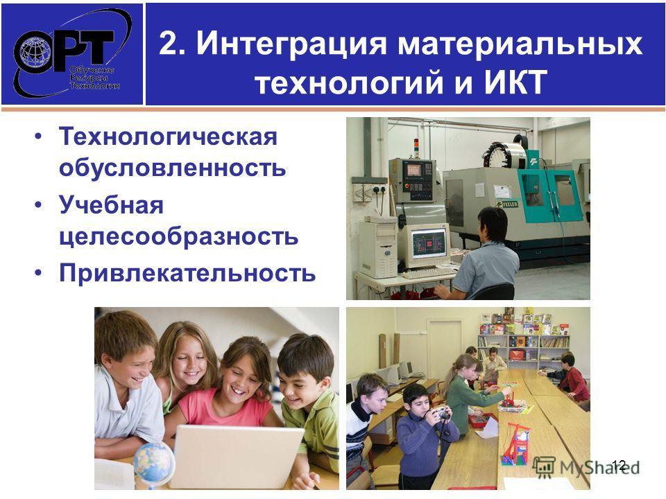2. Интеграция материальных технологий и ИКТ Технологическая обусловленность Учебная целесообразность Привлекательность 12