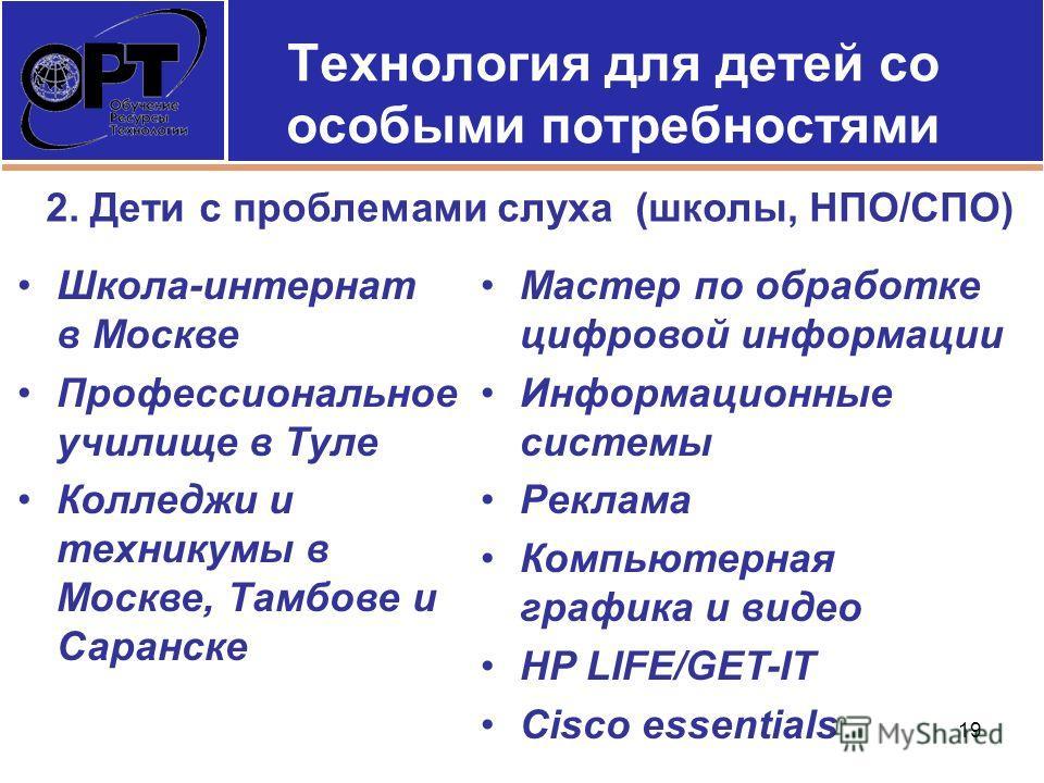 Технология для детей со особыми потребностями Школа-интернат в Москве Профессиональное училище в Туле Колледжи и техникумы в Москве, Тамбове и Саранске Мастер по обработке цифровой информации Информационные системы Реклама Компьютерная графика и виде