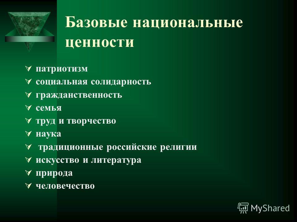 Базовые национальные ценности патриотизм социальная солидарность гражданственность семья труд и творчество наука традиционные российские религии искусство и литература природа человечество