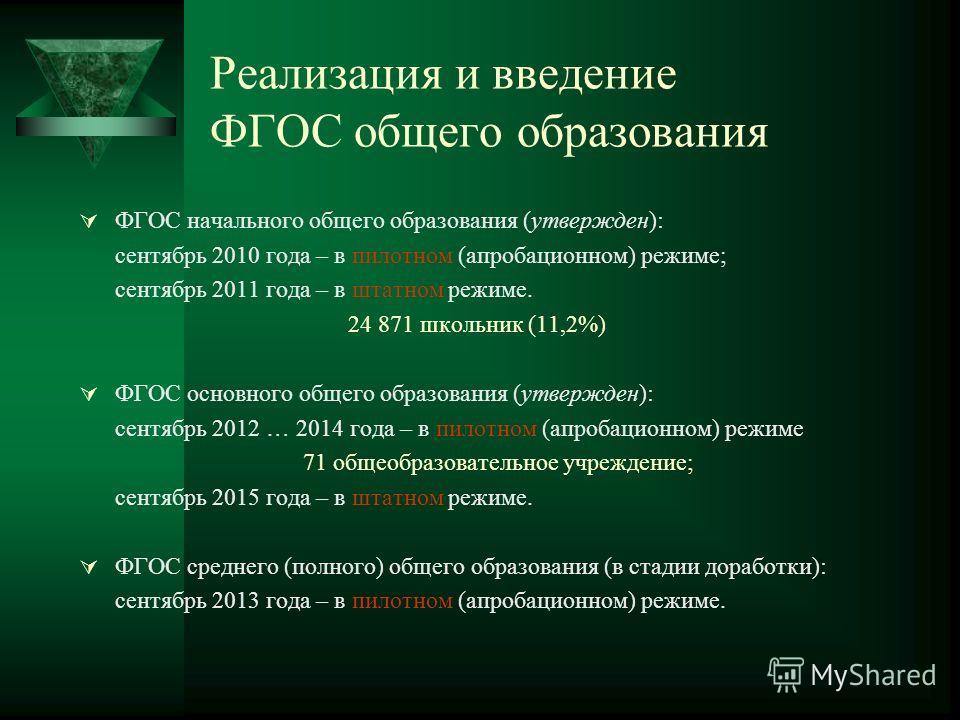 Реализация и введение ФГОС общего образования ФГОС начального общего образования (утвержден): сентябрь 2010 года – в пилотном (апробационном) режиме; сентябрь 2011 года – в штатном режиме. 24 871 школьник (11,2%) ФГОС основного общего образования (ут