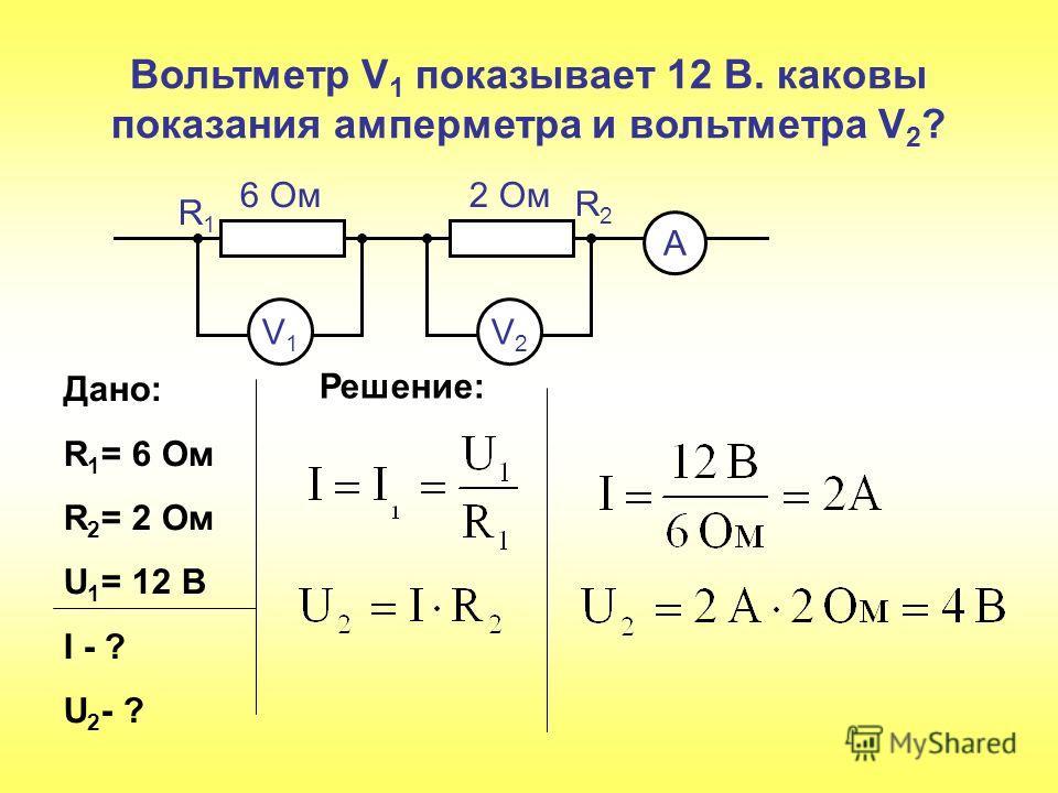 Вольтметр V 1 показывает 12 В. каковы показания амперметра и вольтметра V 2 ? V1V1 V2V2 А 6 Ом 2 Ом R1R1 R2R2 Дано: R 1 = 6 Ом R 2 = 2 Ом U 1 = 12 В I - ? U 2 - ? Решение: