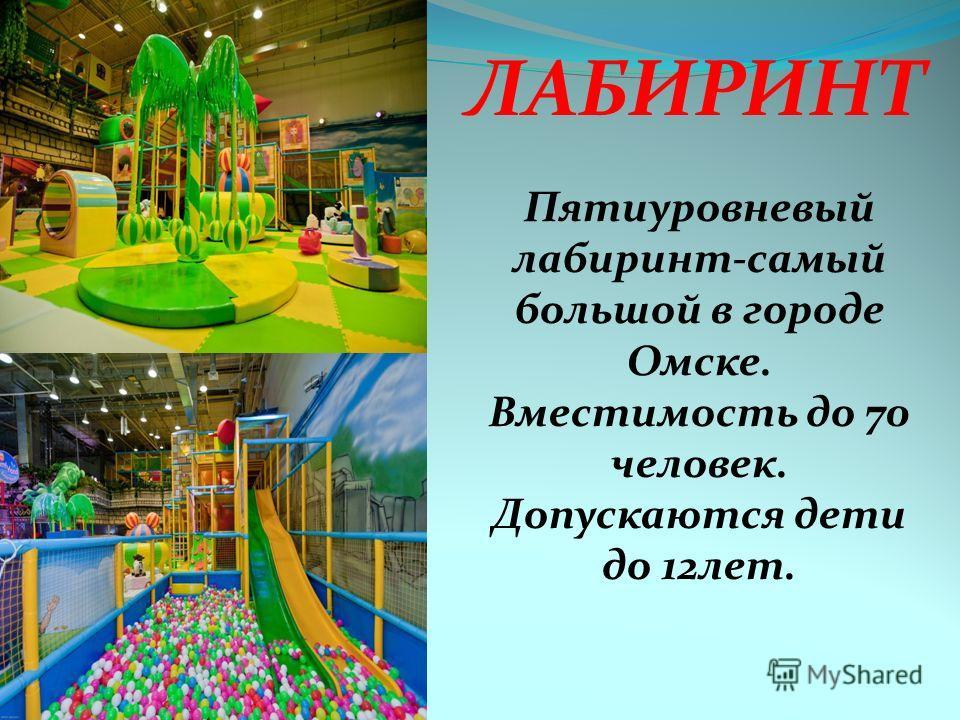 ЛАБИРИНТ Пятиуровневый лабиринт-самый большой в городе Омске. Вместимость до 70 человек. Допускаются дети до 12 лет.
