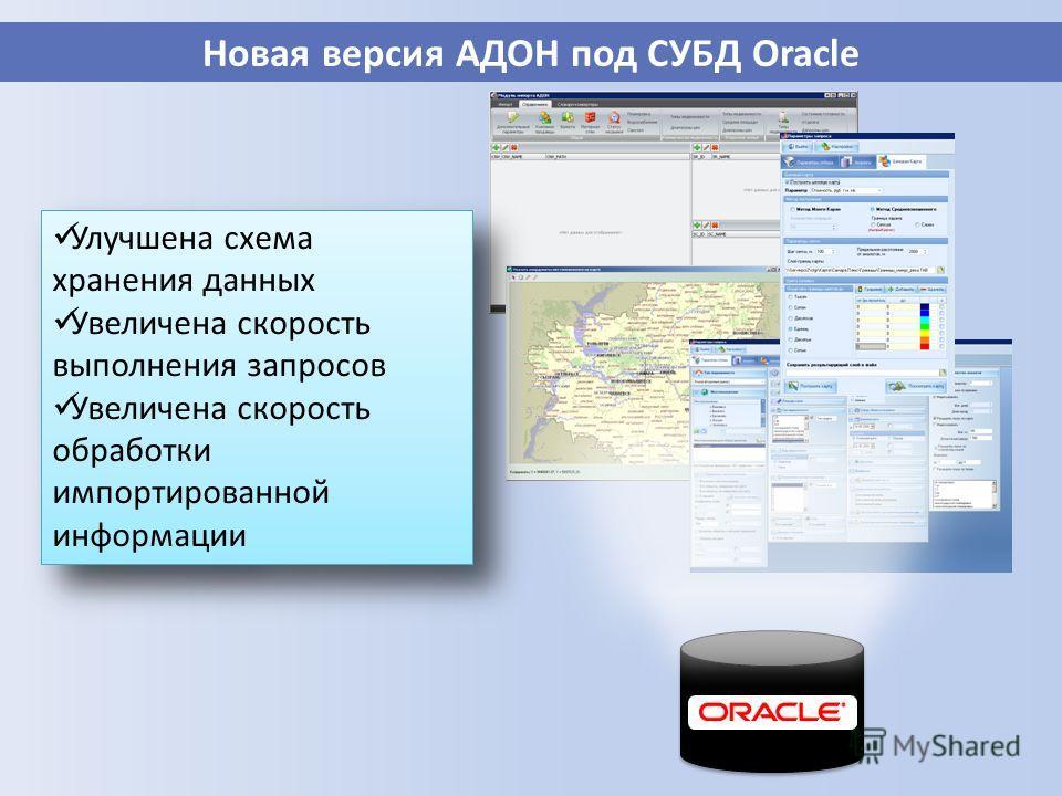 Новая версия АДОН под СУБД Oracle База данных Улучшена схема хранения данных Увеличена скорость выполнения запросов Увеличена скорость обработки импортированной информации Улучшена схема хранения данных Увеличена скорость выполнения запросов Увеличен