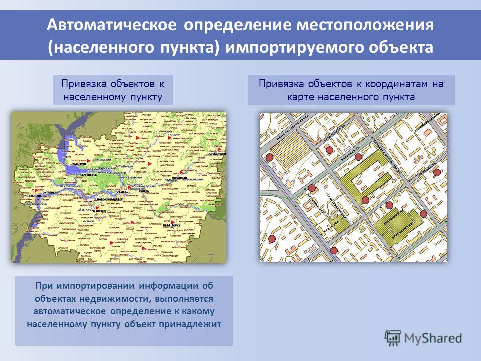 Автоматическое определение местоположения (населенного пункта) импортируемого объекта При импортировании информации об объектах недвижимости, выполняется автоматическое определение к какому населенному пункту объект принадлежит Привязка объектов к ко