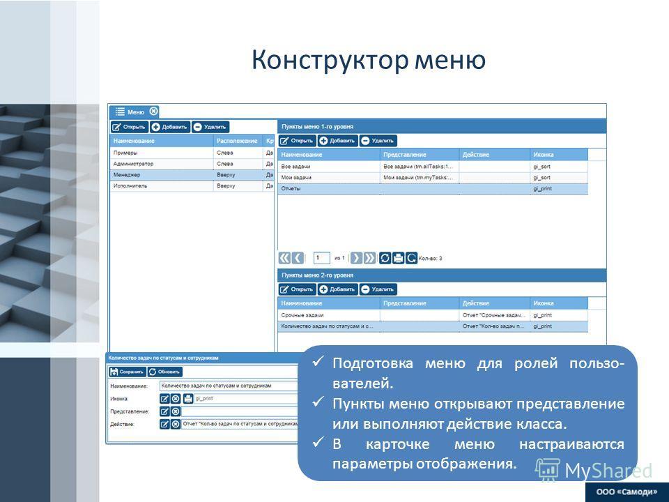 ProPowerPoint.Ru Конструктор меню Подготовка меню для ролей пользователей. Пункты меню открывают представление или выполняют действие класса. В карточке меню настраиваются параметры отображения.
