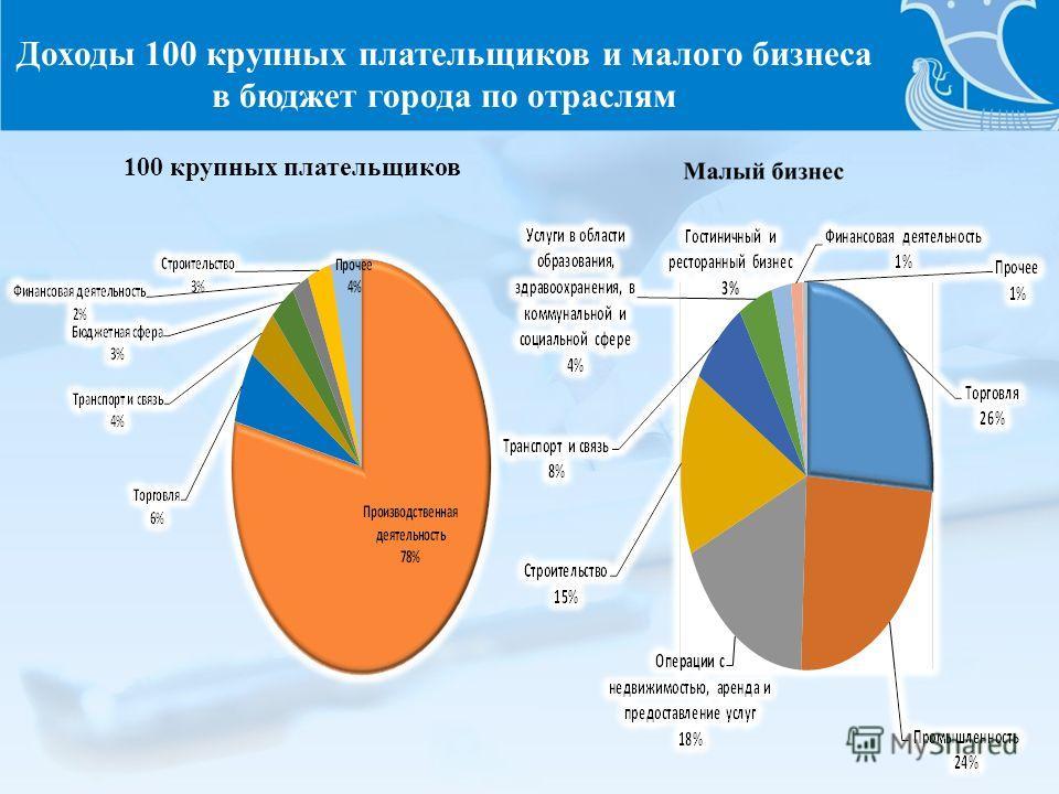 Доходы 100 крупных плательщиков и малого бизнеса в бюджет города по отраслям 100 крупных плательщиков