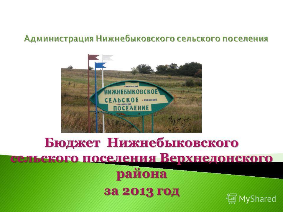 Бюджет Нижнебыковского сельского поселения Верхнедонского района за 2013 год