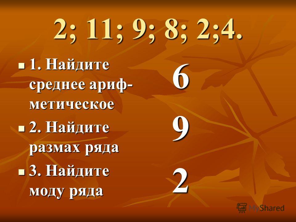 2; 11; 9; 8; 2;4. 1. Найдите среднее арифметическое 1. Найдите среднее арифметическое 2. Найдите размах ряда 2. Найдите размах ряда 3. Найдите моду ряда 3. Найдите моду ряда 6 9 2