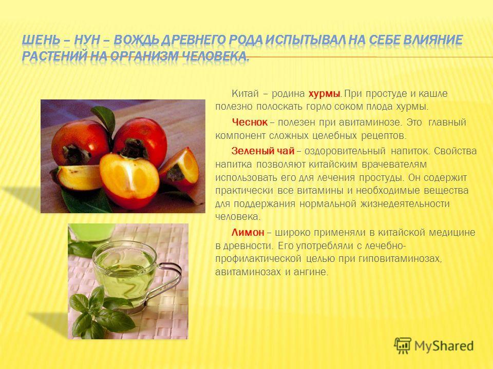 Китай – родина хурмы. При простуде и кашле полезно полоскать горло соком плода хурмы. Чеснок – полезен при авитаминозе. Это главный компонент сложных целебных рецептов. Зеленый чай – оздоровительный напиток. Свойства напитка позволяют китайским враче