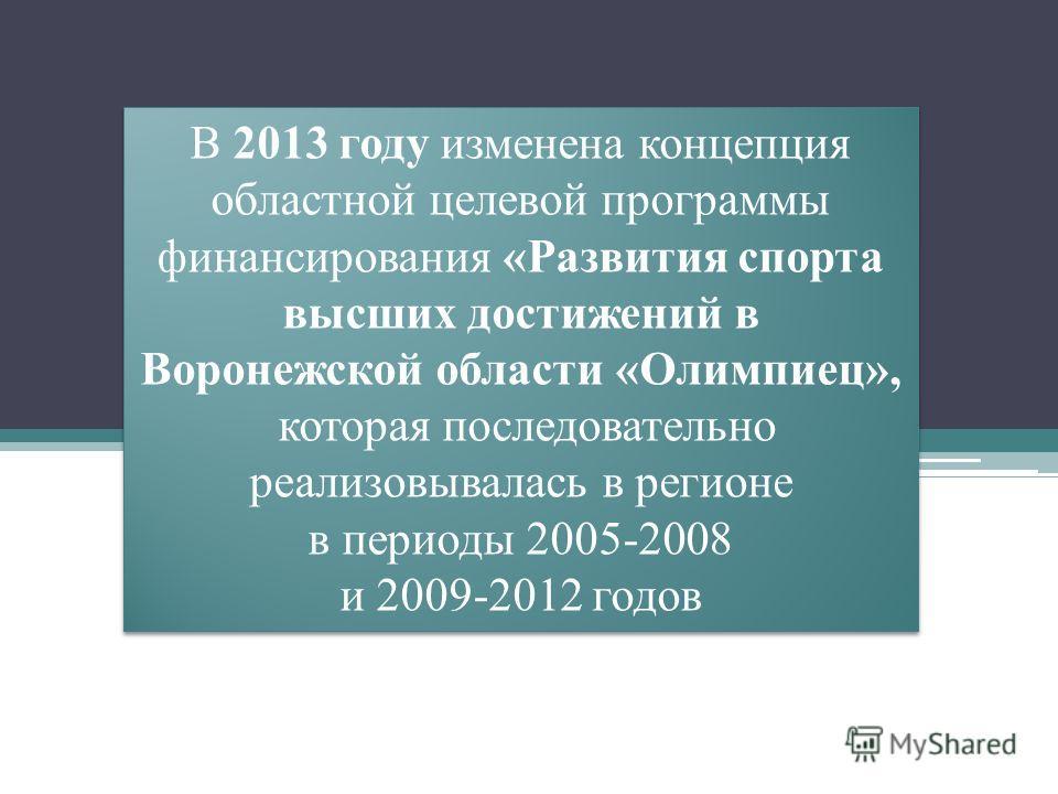 В 2013 году изменена концепция областной целевой программы финансирования «Развития спорта высших достижений в Воронежской области «Олимпиец», которая последовательно реализовывалась в регионе в периоды 2005-2008 и 2009-2012 годов В 2013 году изменен