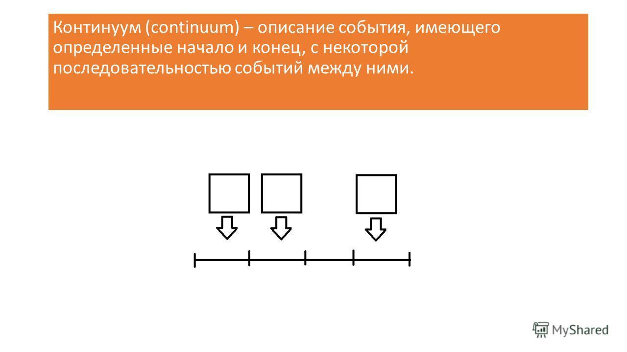 Континуум (continuum) – описание события, имеющего определенные начало и конец, с некоторой последовательностью событий между ними.