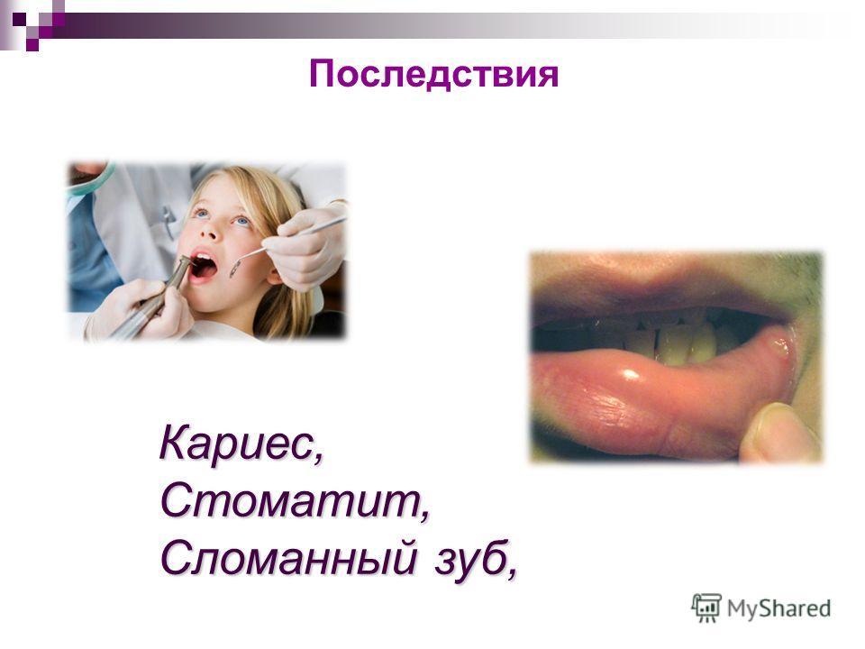 Последствия Кариес,Стоматит, Сломанный зуб,