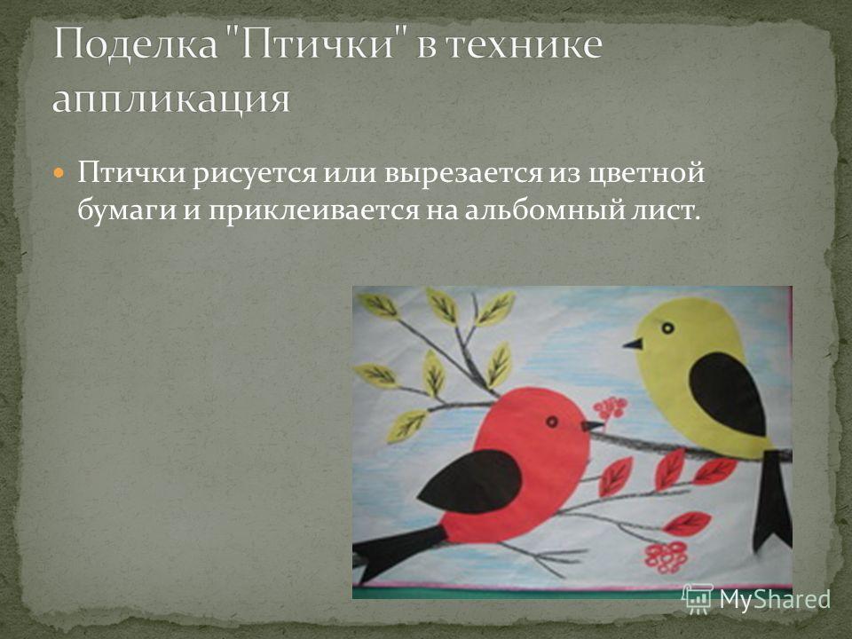 Птички рисуется или вырезается из цветной бумаги и приклеивается на альбомный лист.