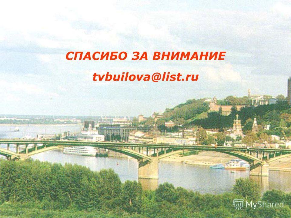 СПАСИБО ЗА ВНИМАНИЕ tvbuilova@list.ru