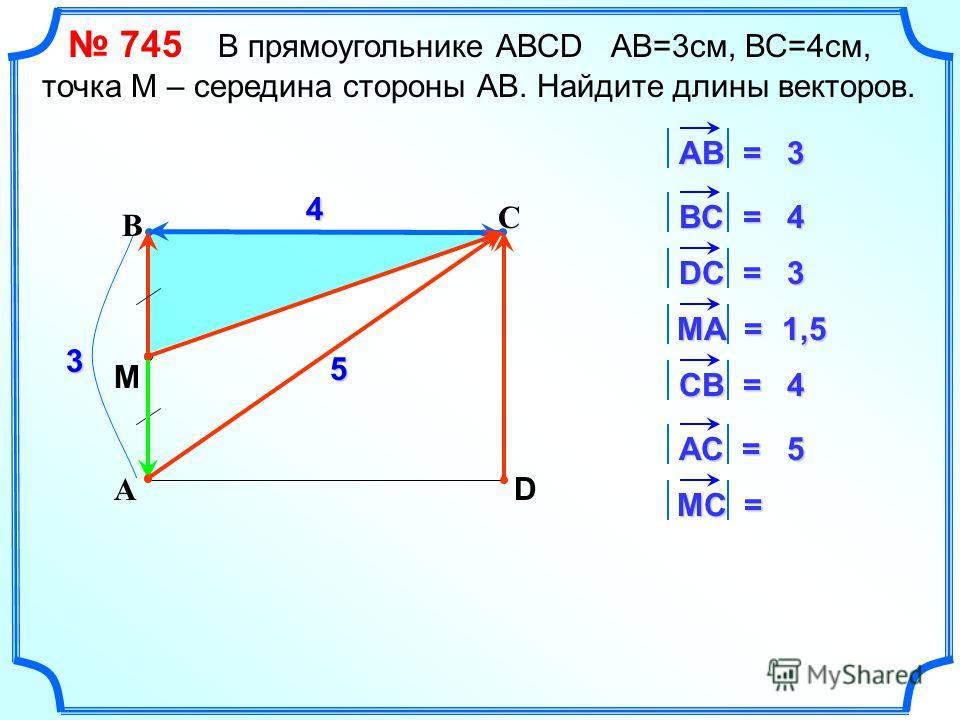 С А В D 4 3 АВ = 3 ВC = 4 DС = 3 MА = 1,5 СВ = 4 АС = 5 5 МC = M 745 В прямоугольнике АВСD АВ=3 см, ВС=4 см, точка М – середина стороны АВ. Найдите длины векторов.
