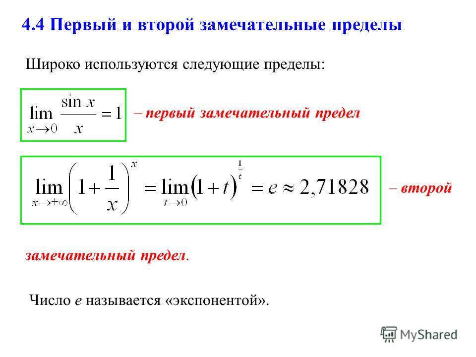 4.4 Первый и второй замечательные пределы – первый замечательный предел замечательный предел. Широко используются следующие пределы: Число е называется «экспонентой». – второй