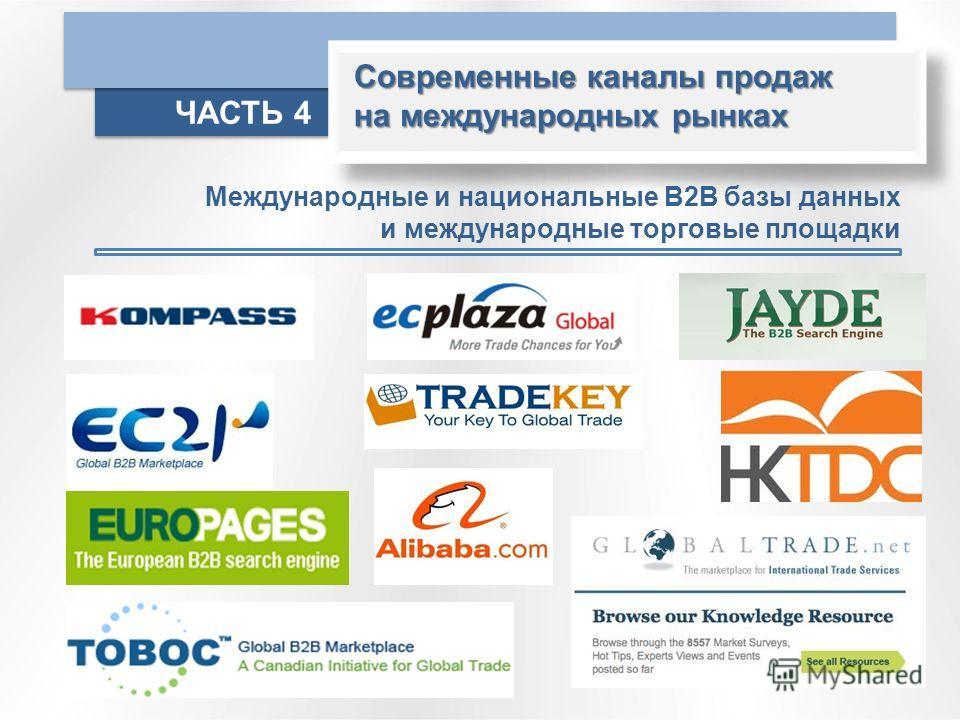 Современные каналы продаж на международных рынках ЧАСТЬ 4 Международные и национальные В2В базы данных и международные торговые площадки