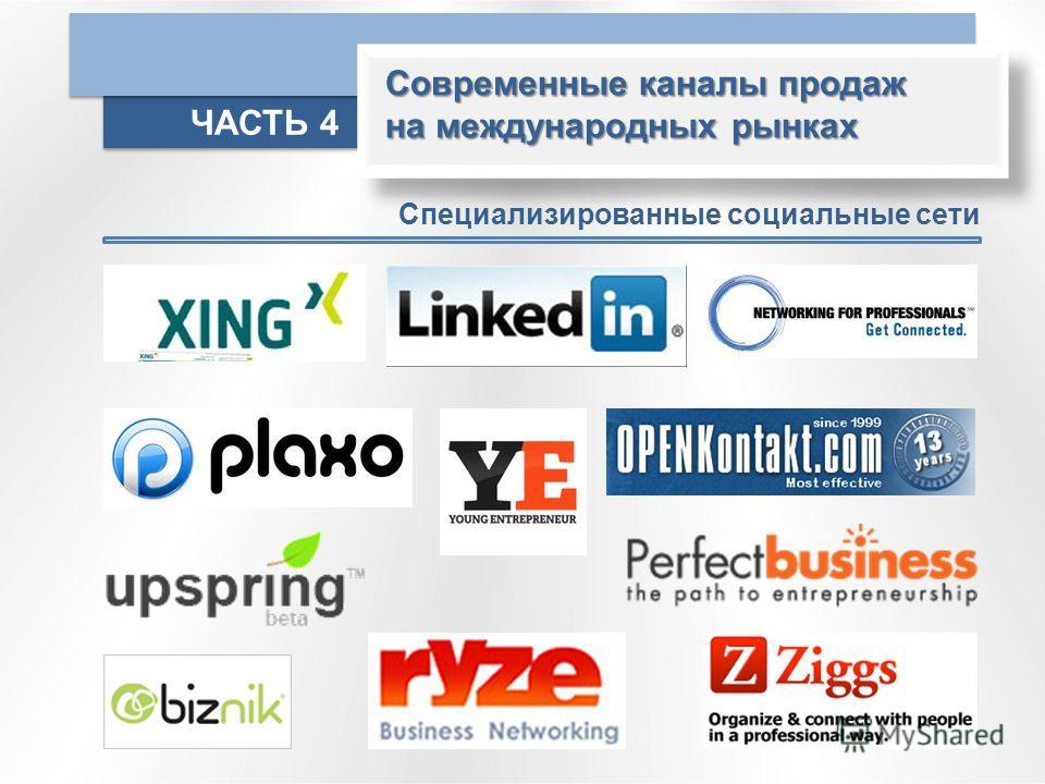 Современные каналы продаж на международных рынках ЧАСТЬ 4 Специализированные социальные сети