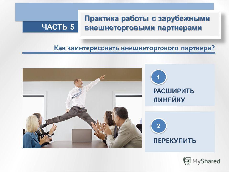 Практика работы с зарубежными внешнеторговыми партнерами ЧАСТЬ 5 Как заинтересовать внешнеторгового партнера? РАСШИРИТЬ ЛИНЕЙКУ ПЕРЕКУПИТЬ 2 2 1 1