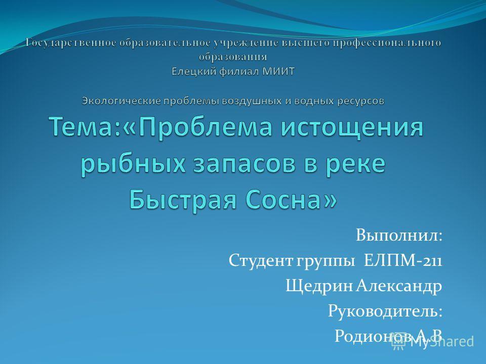 Выполнил: Студент группы ЕЛПМ-211 Щедрин Александр Руководитель: Родионов А.В
