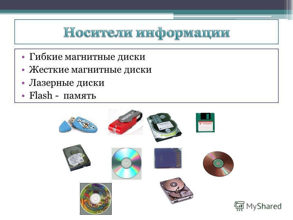 Гибкие магнитные диски Жесткие магнитные диски Лазерные диски Flash - память